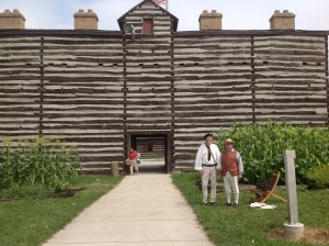 Re-enactors greet visitors to Historic Fort Wayne, a replica of the last active fort in the Three Rivers area. The fort is based on drawings by Major John Whistler, who oversaw its construction in 1816.