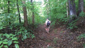 A hiker follows a short surviving section of the Buffalo Trace just off the main path of the Springs Valley Trail in the Hoosier National Forest.