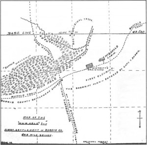 The Buffalo Trace and a mud hole as they were mapped and described in the original 1805 land survey of Dubois County, Indiana. (Picture courtesy of U.S. Forest Service).