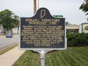 This LaPorte County marker designates the Indiana Territory's northern border as of 1805 when the Michigan Territory was created.