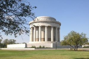 This monument at Vincennes commemorates the taking of Fort Sackville from the British in 1779.