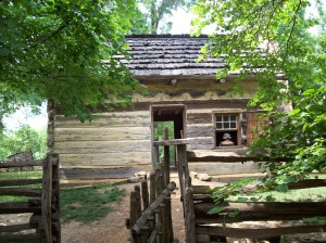 A recreated 1820s homestead occupies four of the original 160 acres owned by Thomas Lincoln.