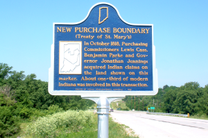 This marker in Carroll County is one of four identifying the boundary of the New Purchase treaty negotiated in 1818. Others are in Benton, Grant and Tipton counties. They were erected by the state in 1966 in honor of Indiana's sesquicentennial.