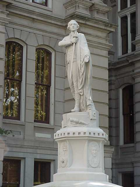 Lafayette's visit to the United States in 1824-25 inspired the naming of Lafayette, Indiana. The general holds a sword next to his heart in this marble sculpture designed by Lorado Taft for the Tippecanoe County Courthouse in 1887.