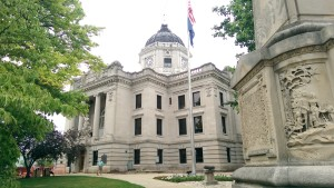 The epicenter of Indiana limestone country is the Monroe County Courthouse, completed in 19 08 and built of locally quarried limestone. It is listed on the National Register of Historic Places.