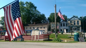 A patriotic spirit pervades Metamora where the Ben Franklin III is docked along Main Street. The boat was built in 1989 to resemble canal boats of the mid 19th century and is pulled by Belgian draft horses.