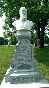"""The epitaph on Oliver Morton's gravestone says, """"He loved his country's good, with a respect more tender, more holy and profound, than his own life."""""""