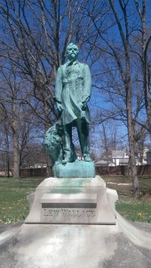 The bronze sculpture of Wallace on the museum grounds is a duplicate of the marble original by Andrew O'Connor displayed in the U.S. Capitol.