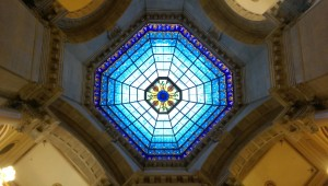 Artificial lights placed behind the Rotunda dome's stained glass ensure the colors are visible even on cloudy days.