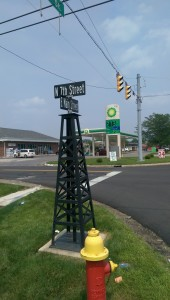 The only gas derricks left in Gas City are the decorative street signs that line Main Street.