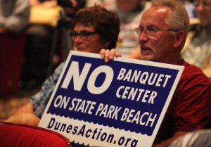 Concerned citizens packed the Memorial Opera House in Valparaiso at a July public forum held to discuss a banquet center planned for Indiana Dunes State Park. (Photo by Damian Rico, The Times of Northwest Indiana.)