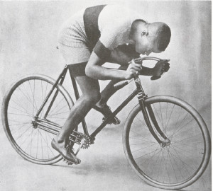 Major Taylor was known for his aerodynamic bicycle posture with his back flat and his eyes downward. (Photo courtesy Major Taylor Association.)