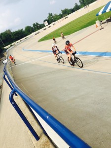 Cyclists take practice laps at the Major Taylor Velodrome in Indianapolis. (Photo courtesy Indy Cycloplex.)