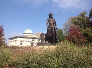 Thomas Jefferson's 10-foot bronze likeness greets visitors to Warder Park, the site of a Carnegie library built in 1905 in beaux-arts classical style. Community leaders are contemplating a new use for the building, currently unoccupied.