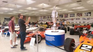 The Borg-Warner Trophy, bearing a likeness of each Indy 500 champion, was established in 1935. The museum houses the original; the race winner receives a smaller sterling silver replica.