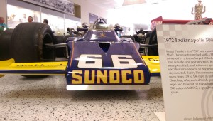 The Hall of Fame Museum's collection includes many championship Indy cars, including the Marmon Wasp driven by Ray Harroun in the 1911 race and this McLaren M-16B driven by Mark Donohue in 1972.