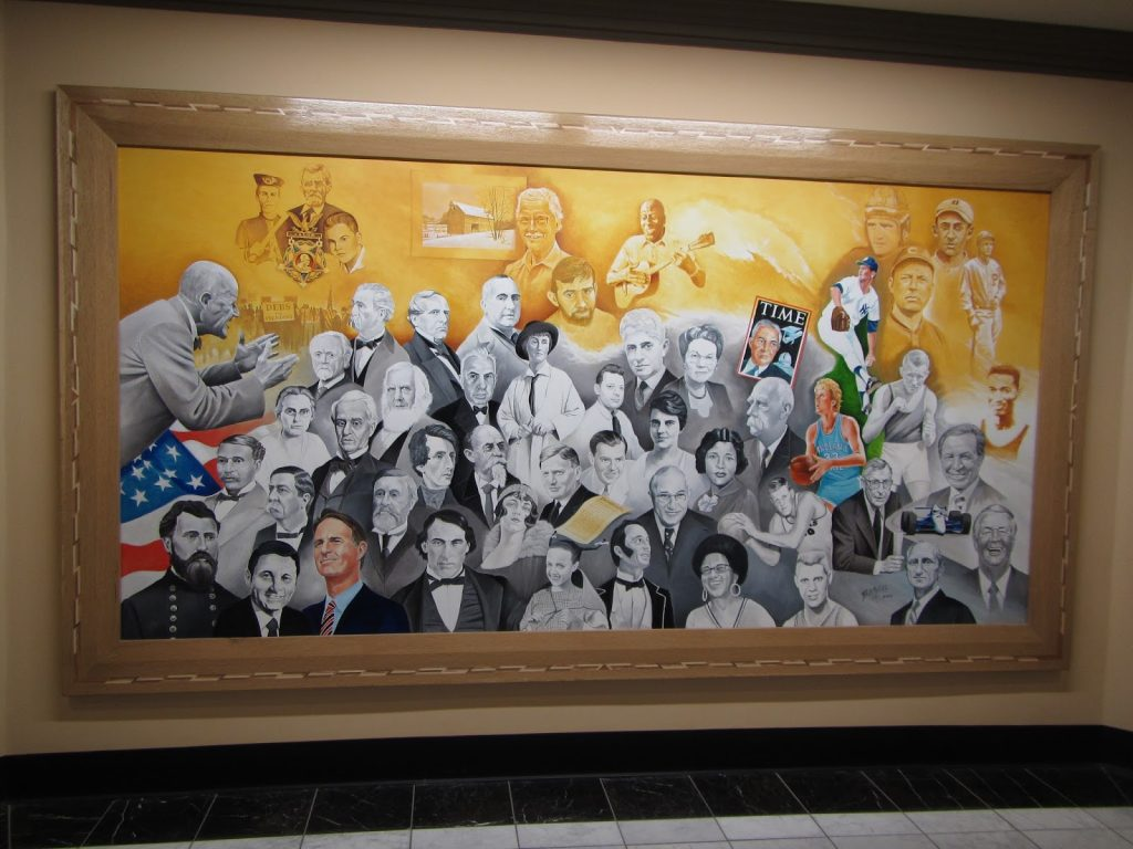 The image of Virginia Jenckes appears beneath the outstretched arms of labor organizer Eugene Debs in this mural by Bill Wolfe. It is one of four 5' x 10' murals depicting the history of the Terre Haute area hanging in the Vigo County Courthouse Rotunda.