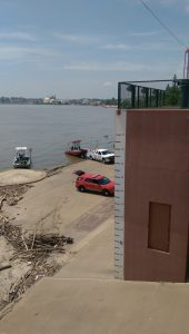 The 54-foot hash mark on the pump house shows just how high the water rose during Evansville's Great Flood.