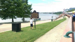 A state historic marker along Evansville's riverfront describes the elaborate flood control plan and levee system put in place after the flood of 1937.