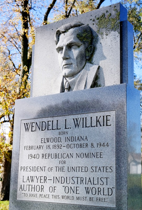 Wendell Willkie Park features this monument to the 1940 presidential candidate. Photo by Laura Harris.