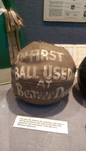 The first basketballs were meant to be thrown, not dribbled. This ball, used in 1910 at Beaver Dam High School in Akron, is the oldest in the Hall of Fame's collection.